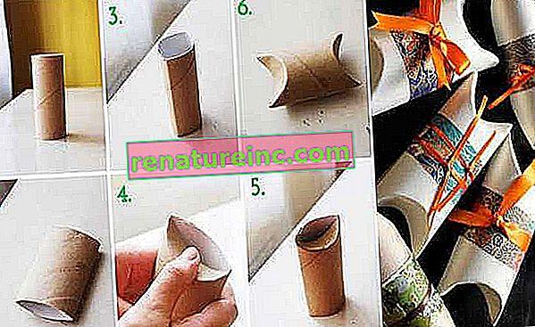 Faça caixinhas com rolos de papel higiênico