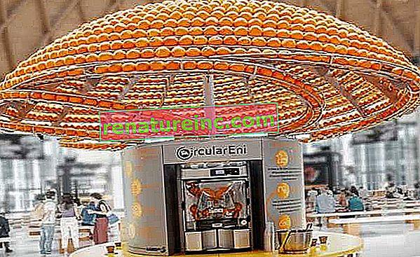 Машината прави портокалов сок и произвежда чаши с корите