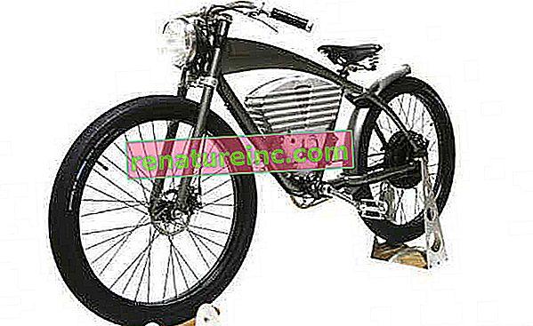 Retro elektrisk sykkel etterligner motorsykler